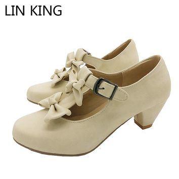 LIN KING Summer Size 34-39 Women Sweet Bow Lolita Low Heel Dress Shoes Princess Pumps Student Party Shoes Round Toe Ladies Pumps