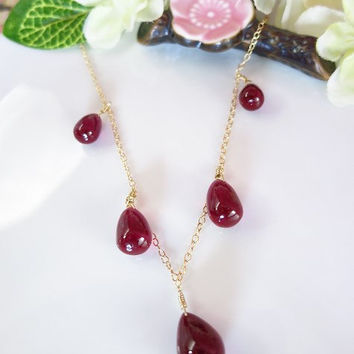 Red rubelite corundrum quartz smooth drop gold necklace, True Blood vampire drop earrings