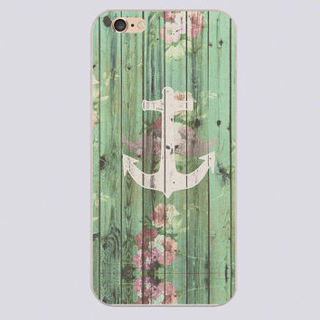 Vintage Floral Nautical Anchor Green Beach Wood Design black skin phone cover cases for iphone 4 5 5c 5s 6 6s 6plus Hard Shell