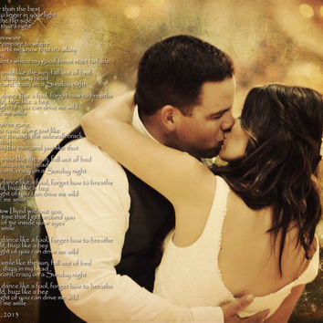 Wedding Photo First Dance Song Lyrics Anniversary Gift Photo Art Custom Photo Editing