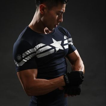 Captain America T Shirt 3D Printed T-shirts Men Avengers iron man Civil War Tee Fitness Clothing Male Crossfit Tops