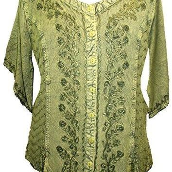 Scooped Neck Medieval  Embroidered Blouse