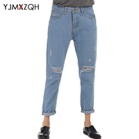 Ripped Jeans With High Waist Mom Jeans Woman Push Up Jeans Women Denim Pants Womens Plus Size Boyfriend American Apparel Vintage