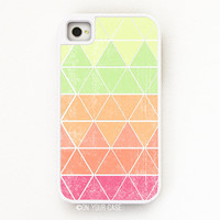 iPhone 4 Tough Case Geometric in Neon - Silicone Lined