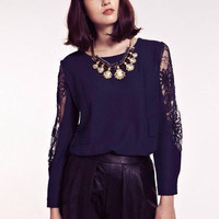 Mesh And Lace Floral Long-Sleeve Zipper Back Blouse