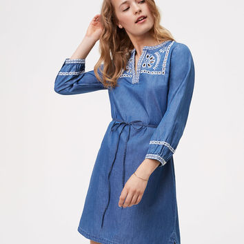 Chambray Embroidered Shirtdress | LOFT