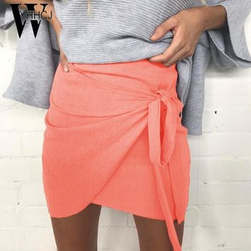 WYHHCJ 2017 New Arrival lace up summer skirt casual solid bow mini faldas pencil women skirts anomaly jupe femme skirt women