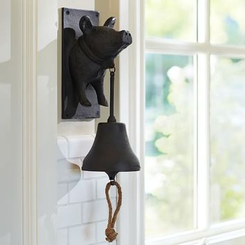 VINTAGE BLACKSMITH WALL-MOUNT PIG DINNER BELL