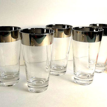 FIVE vintage Mad men silver band Dorothy Thorpe style tumblers, pilsner glasses highball iced tea water mid century retro hipster