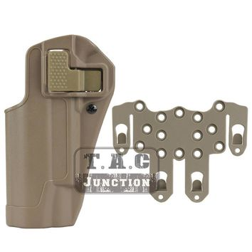 Tactical CQC Serpa Concealment Left Hand Quick Pistol Holster Gun Case w/ STRIKE MOLLE Platform for Colt 1911 M1911 -Dark Earth
