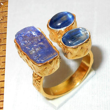 Kyanite Ring - Gold Vermeil Ring - Gemstone Ring - Handmade Ring - Rough Gemstone Ring - Bezel Set Ring - Raw Tanzanite Ring - Brass Ring
