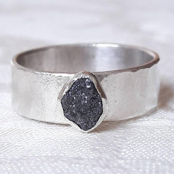 Wide Sterling Silver and Rough Black Diamond Ring - Raw Diamond Engagement Ring - Wide Band Ring - Hammered Silver Ring - Raw Stone Ring