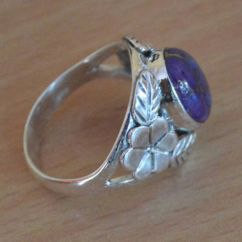 Natural Purple Turquoise Ring,Style Copper Turquoise Gemstone Ring,Solid 925 Sterling Silver Ring,Birthstone Turquoise Gemstone Ring quality