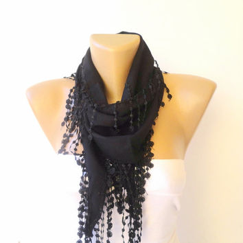 black scarf ,Pashmina Scarf with Trim Edge , women fashion scarf