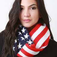 Patriotic Knit Infinity Scarf