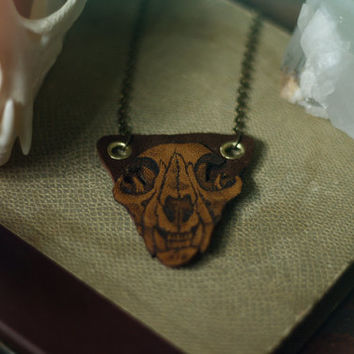 felis // leatherburned bobcat skull pendant