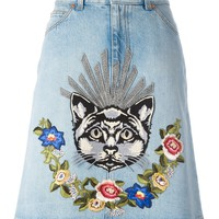 Indie Designs Cat and Floral Embroidered Denim Skirt