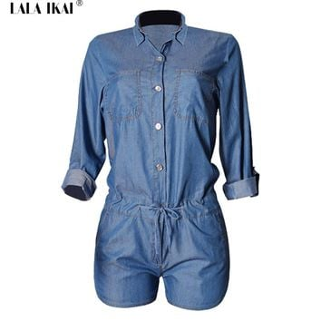 Chic Denim Overalls Women Long Sleeve Womens Short Jumpsuit and Rompers Sexy One Piece Jumpsuit Fitness Jeans Overalls Women
