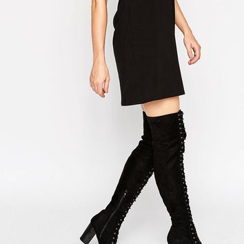 Public Desire Blake Lace Up Heeled Over The Knee Boots