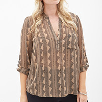 FOREVER 21 PLUS Geo Woven Blouse Cocoa/Black