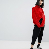 ASOS Sweater in Cable and Roll Neck at asos.com
