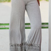 Gray Palazzo Pants with Crochet Detail
