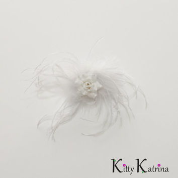 White Rose Feather Flower Clip, White Flower Hair Clip, Bridal Flower Clip, White Flower Girl Dress, Holiday Dress, Party Dress, Prom Dress