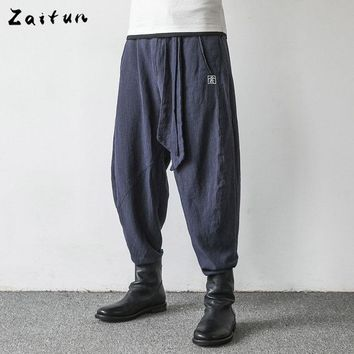 Zaitun Brand Drop Crotch Pants Men Linen Swag Baggy Hip Pop Harem Trousers Casual Chinese Writing Embroidery Style Pants