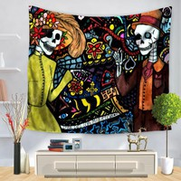Hippie Tapestry Skull Wall Cloth Tapestries Art Boho Decor Polyester Fabric