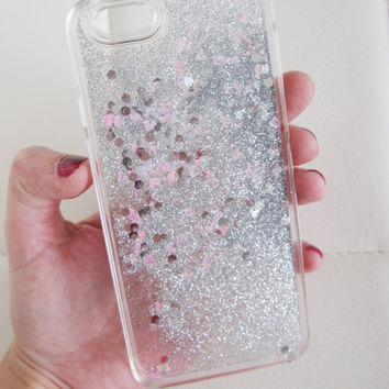 iPhone 6 case clear liquid glitter hipster mouse iridescent geometric sequins floating liquid waterfall quicksand phone case trend US seller