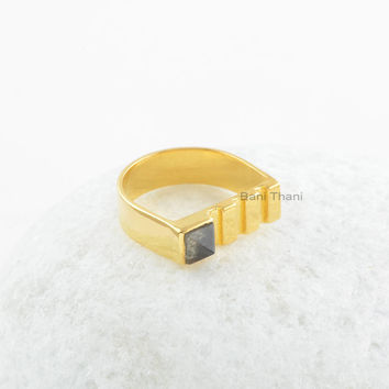 Labradorite Ring Silver-Labradorite 5x5mm Square Pyramid Sterling Silver Gemstone Ring-18k Gold Plated Ring-Gift For Women-Handmade Gift