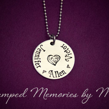 My Babies - Mommy Necklace - Hand Stamped Stainless Steel Heart - Pearl Accent - Personalized Mother, Grandma Nana Jewelry - Baby Feet Heart