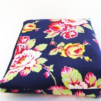 Navy blue floral cosmetic case, makeup bag, zipper pouch hot pink, yellow, green