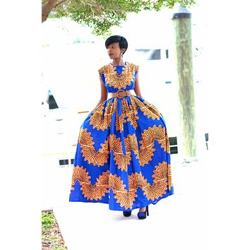 African Print Maxi Dress - Royal Blue/Brown /Orange