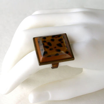 Leopard Print Ring Square Adjustable Lucite