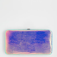 Pink Iridescent Alligator Hinged Wallet