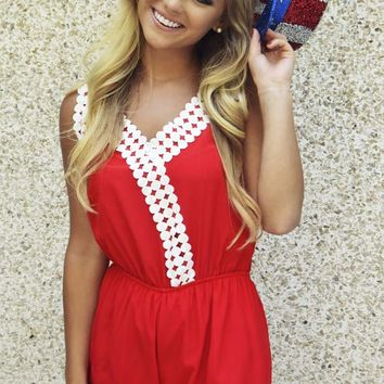 Red, White, & Beautiful Romper: Red/White - Rompers & Jumpers - Tops - Hope's Boutique