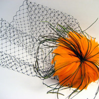 Vintage Inspired Orange Feather Pinup Flower with Birdcage Veil Blusher Fascinator - Halloween - wedding - bridal - goblin