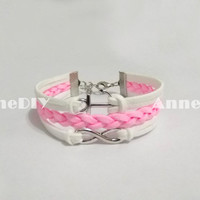 Infinity Bracelets - anchor bracelets - pink bracelet with Infinity charm, handmade bracelet for girlfriend, birthday gifts
