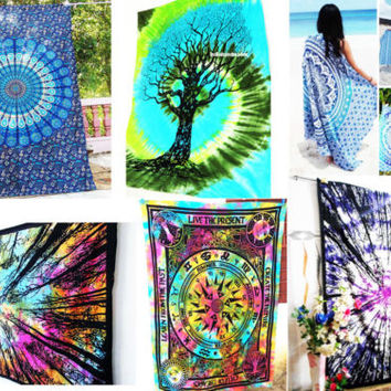 Bohemian Tapestry Multicolor Tie Dye Wall Tapestry Wall Hanging Hippie Bedspread