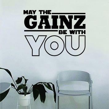 May the Gainz Be With You Quote Fitness Health Work Out Decal Sticker Wall Vinyl Art Wall Bedroom Room Decor Decoration Weights Lift Dumbbell Motivation Inspirational Gym Beast Animals Funny Gains