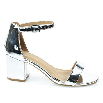 Highlight06S Silver Patent By Bamboo, 70s Low Chunky Block Heel Sandal w Ankle Strap. Women's Shoes