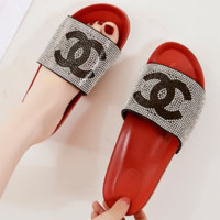 Chanel 2018 Summer New Sequins Color Beach Sandals Rhinestone Shoes F0228-1 red