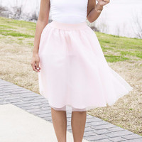 The Bradshaw Pink Midi Length Net Tulle Skirt