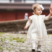 Silk Christening Gown, Baptism Dress,  Hair baptism Accessory, Flower Girl, Baptism dress, Christening dress