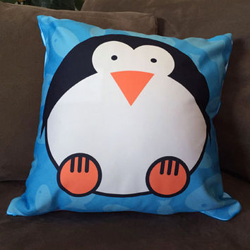 Penguin graphic pillow