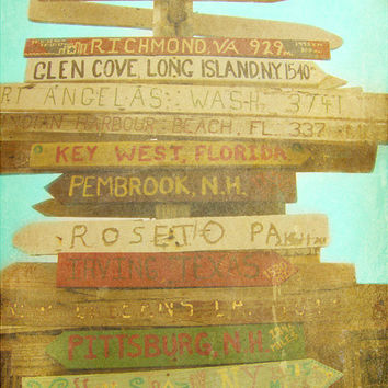 SALE Key West Florida Beach Sign Art Print - Vintage Beach Brown Aqua Direction Wall Art Beach House Photography
