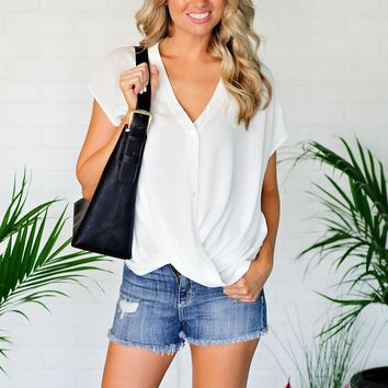 * Classic Chic Button Down Wrap Top : Off White
