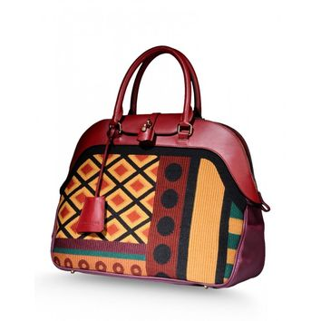 Burberry Prorsum Large Milverton Geometric Tapestry Bag - Bowling Bag - ShopBAZAAR