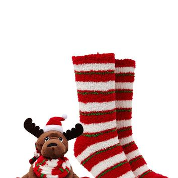 Holiday Moose and Sock Set